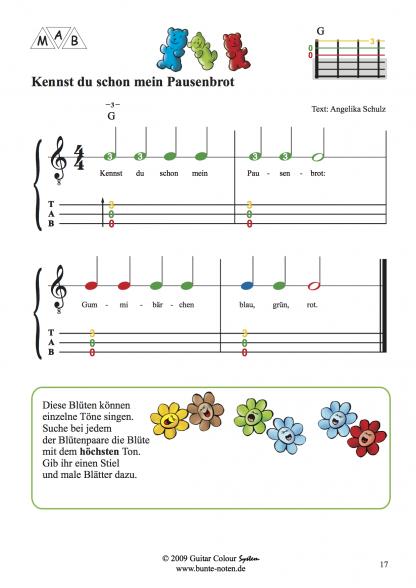 Beispielseite Gitarrenschule mit farbigen Noten 1