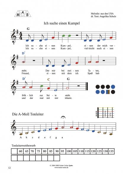 Beispielseite Gitarrenschule mit farbigen Noten 2