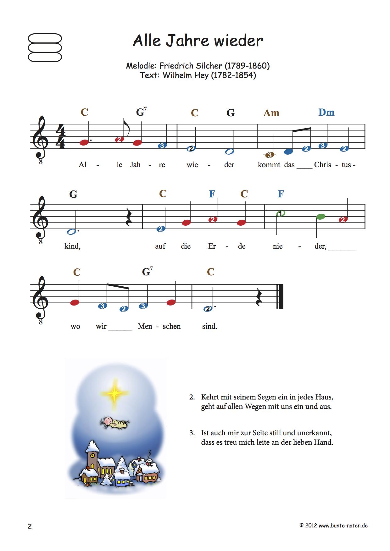 Bekannte Weihnachtslieder - Bunte Noten