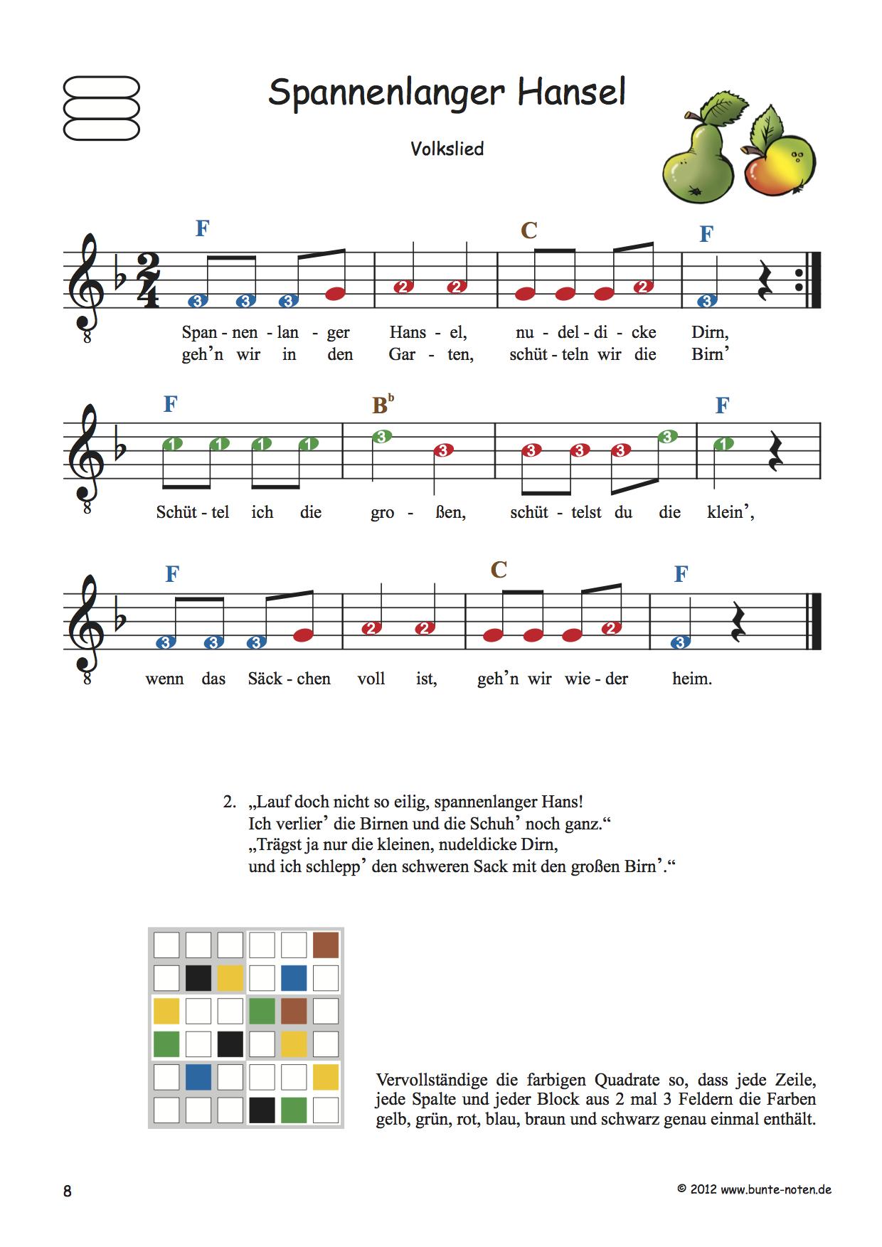 Kinderlieder Mit Farbigen Noten Für Gitarre