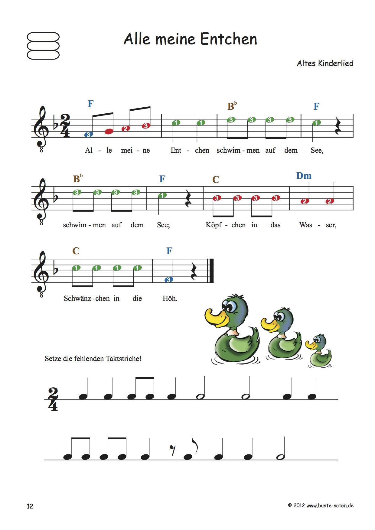 Kinderlieder mit farbigen Noten für Gitarre - Bunte Noten